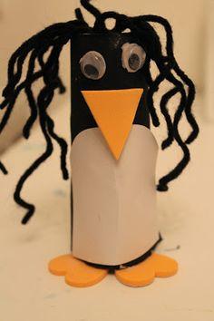 Preschool Winter Craft:  Toilet Roll Penguin