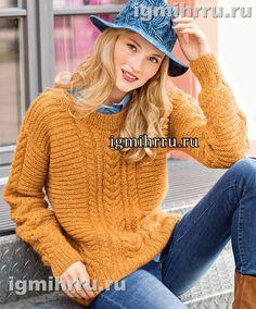 Оранжевый пуловер с диагональными вставками и «косами». Вязание спицами