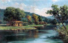 . Flower Boxes, Flowers, Landscape Paintings, Oil Paintings, Beautiful Paintings, Art Education, Home Art, River, Drawings