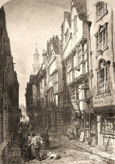 Wynch Street, 1870 from the ILLUSTRATED LONDON NEWS. An Elizabethan part of London that survived the Great Fire and was only demolished in Australia House now stands there. Victorian London, Victorian Street, Victorian Life, Vintage London, Old London, Victorian Buildings, London Pubs, East London, London History