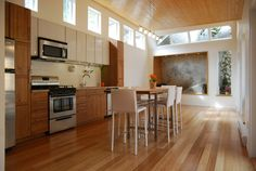 Clerestory windows above eye level, or at the top of a wall, add natural light while maintaining privacy.