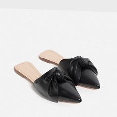 Image 3 of LEATHER SLIDES WITH BOW from Zara