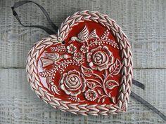 Grand coeur alsacien springerle en céramique rouge : Accessoires de maison par rouge-petit-coeur-ceramique