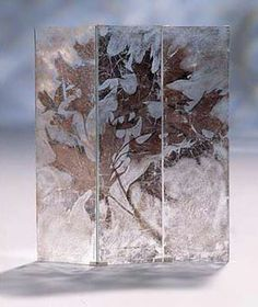 Verre Eglomise - Tryptych Screen - Autumn branch detail, treated silver on glass  60 x 194cm