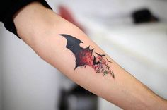 Awesome Black And Red Ink Male Forearm Tattoo Of Batman Symbol