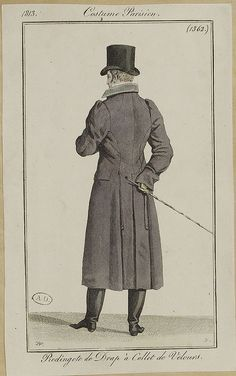 The redingote was a riding coat worn by men in England in the 18th century. This garment was typically longer, but tailored to fit a man perfectly.