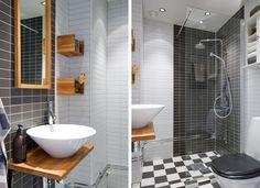czarna łazienka,czarno-biała łazienka,drewniane meble łazienkowe,czarno-białe płytki,czarno-białe karo na podłodze