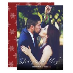 She Said Yes Holiday Engagement Announcement - christmas cards merry xmas family party holidays cyo diy greeting card