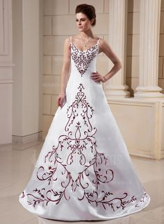 A-Line/Princess V-neck Sweep Train Satin Wedding Dress With Embroidery #DIY