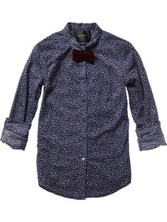 All-over printed shirt with velvet bow clip