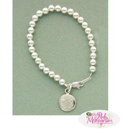 Monogrammed Sterling Silver 6mm Ball Bracelet with a Charm  Apparel & Accessories > Jewelry > Bracelets