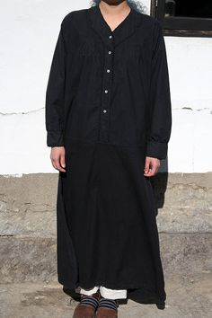 French antique black cotton long dress/France/over-dyed black/A line/199