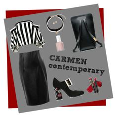 """""""Carmen"""" by madamejk on Polyvore featuring мода, WithChic, Milly, Lanvin, Gemma Simone, L.A. Girl и Essie"""