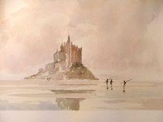 """Pierre Brette 1905-1961 """" Le Mont Saint Michel """" Le Mont St Michel, School Daze, St Michael, Watercolor And Ink, Watercolors, Mists, Taupe, Beige, History"""