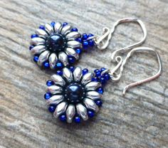 Cobalt Blue & Silver Beaded Czech Earrings Swarovski by JBMDesigns $22.00 **Click picture for more info**