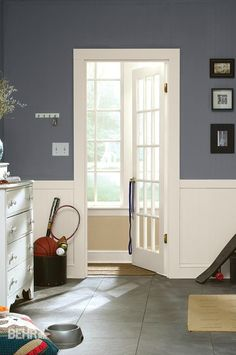 Charcoal Plum is a modern medium-toned gray with a slight tint of purple. This paint color is perfect for an area with plenty of natural light, and it serves well on an accent wall or as part of a chair rail combo.