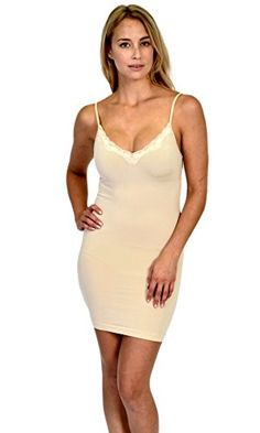 38f631cf1d Patricia Lingerie Women s Soft Full Body Shapewear Stretch Control Slip  Dress The perfect knee length slimming slip with adjustable straps and lace  trim