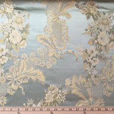 What an amazing fabric!  It is also called a brocade but this is 100% silk lampas with a base color of Seafoam and woven accents of olive green, ivory, & gold. This is practically a perfectly period fabric pattern for an 18th century gown or jacket.