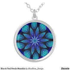Blue & Teal Petals Mandala Silver Plated Necklace Purple Teal, Blue, Black Felt, Colorful Backgrounds, Silver Plate, Mandala, Plating, Sterling Silver, Pendant