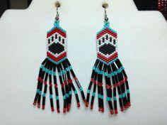 Native Bear Paw Beaded Earrings with Fringe by DoubleACreations, $12.00