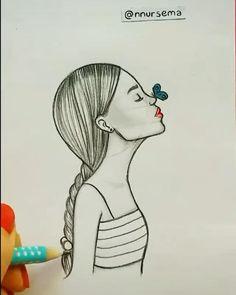 Girly Drawings, Art Drawings For Kids, Art Drawings Sketches Simple, Pencil Art Drawings, Drawing Ideas, Art Drawings Beautiful, Beautiful Girl Drawing, Diy Canvas Art, Art Lessons