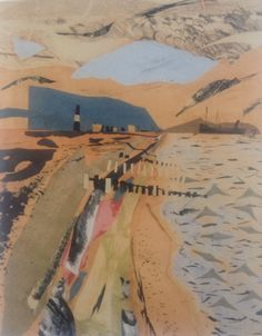 John Piper collage Stunning colours and use of perspective to draw your eye in Collage Landscape, Abstract Landscape, Landscape Paintings, Abstract Art, Edward Hopper, John Piper Artist, Illustrations, Illustration Art, Sense Of Place