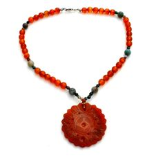 Hand Carved Carnelian Jade Bead Necklace Vintage Sterling Silver Chinese Jewelry