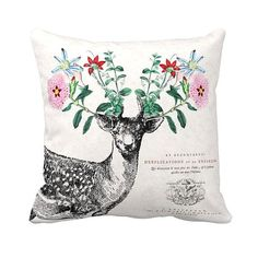 Pillow Cover Deer Pillow Cotton and Burlap Pillow Floral Antler Woodland Deer on Etsy, $35.00