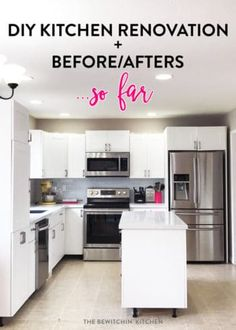 This all white kitchen was the result of a DIY kitchen renovation. Using Home Depot's Eurostyle Kitchen Cabinets in Oxford and Silestone's Stellar Snow. The back splash is Sassi's glass subway tile in nordic ice. More before and after photos in the post.