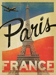France, Paris: Vintage Print - This Paris print features big, bold type, strong colors, and a very well-worn vintage print shop look!