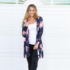 bfde50f3277 Printed Floral Loose Cardigan