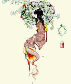 Japanese painting of a mermaid