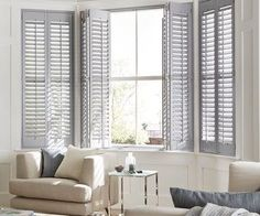 grey shutters in a calm living room