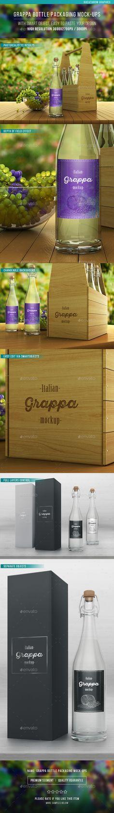 Grappa Bottle Packaging Mock-ups #design Download: http://graphicriver.net/item/grappa-bottle-packaging-mockups/12186277?ref=ksioks