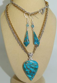 Copper Turquoise Solid 925 Pendant & 925 Earrings on Brass & Stainless Steel Set