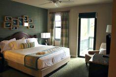 Master bedroom in a 2 bedroom villa at Disney's Hilton Head Island Resort.