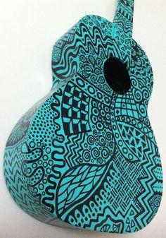 Blue Pop Art Guitar by BeesCuriosityShoppe on Etsy