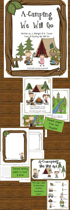 "Camping Song! A-Camping We Will Go & More {Common Core Connections} is a Shared Reading singable easily sung to the tune ""A-Hunting We Will Go!"" This book about all the experiences of camping in the big outdoors. Children will enjoy singing about camping fun. Themed writing papers and a Vocabulary chart are included.25 pages for $2.75 http://www.teacherspayteachers.com/Product/Summer-Camping-A-Camping-We-Will-Go-Common-Core-Connections-244064"