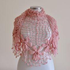 CROCHET SHAWL Handmade Pink Flower Mohair by trendyknitting, $85.00