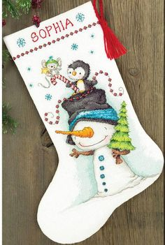 Dimensions Jolly Trio Christmas Stocking - Cross Stitch Kit. Christmas themed cross stitch kit featuring a Christmas Stocking with a snowman and a penguin. Each