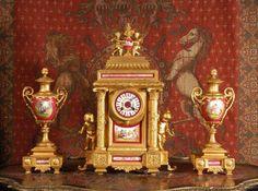 Antique clock and vase set