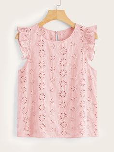 Shein Ruffle Armhole Keyhole Back Schiffy Top Boho Fashion, Kids Fashion, Fashion Dresses, Fashion Design, Summer Blouses, Summer Shirts, Types Of Sleeves, Dress Patterns, Baby Dress