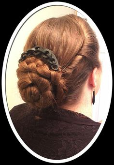 Here is a cable design tiara comb worn as a back comb within a large plaited chignon. The heading is folded down over the hair. This sitter is wearing her own beautiful auburn hair but Victorian ladies often added false pieces. These folded down headings were ideal for concealing the join!