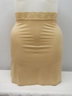 Women Half Slip PLUS SIZE 2XL Solid Beige Side Slit Elastic Waist 24 Length #Vassarette #HalfSlips