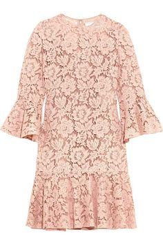 VALENTINO Ruffled corded cotton-blend guipure lace mini dress. #valentino #cloth #dresses