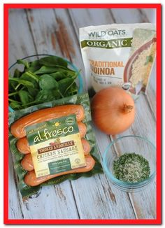This is delicious! I used deer sausage and it tasted like stuffing! Quinoa Spinach and Chicken Sausage ingredients Healthy Sausage Recipes, Chicken Sausage Recipes, Yummy Recipes, Dinner Recipes, Venison Recipes, Yummy Food, Meat Recipes, Recipies, Tasty