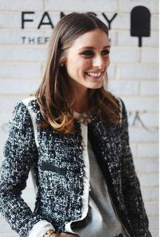 Classic and Casual | Olivia Palermo | Chanel Tweed Jacket + loose grey tshirt