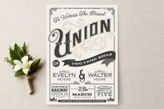 A Blessed Union Wedding Invitations.a list of wedding invitation wording that won't make you barf. Some of these are so cute, and hilarious! Vintage Wedding Invitations, Watercolor Wedding Invitations, Wedding Stationary, Wedding Tips, Our Wedding, Wedding Planning, Dream Wedding, Wedding Stuff, 1920s Wedding