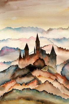Watercolor Architecture, Watercolor Landscape, Abstract Watercolor, Watercolor Illustration, Watercolor Paintings, Castle Painting, Watercolor Pictures, Sketch Painting, Painting Inspiration