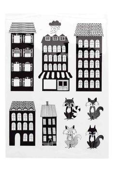 Nálepky na stenu - biela/dom - HOME   H&M SK 1